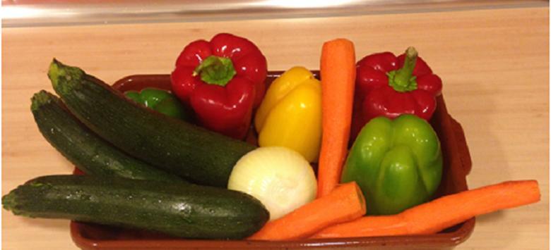 Verduras al horno, receta de María de la Guía